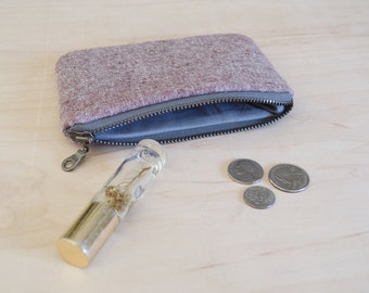 Small zipper pouch in rust linen print - coin purse, mini wallet