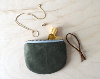 Waxed Canvas Coin Purse in Olive Green