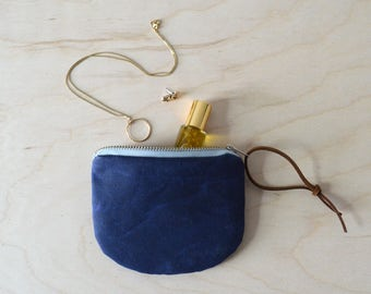 Coin Purse in Navy Waxed Canvas, Card Wallet, Mini Zipper Pouch in Blue, Gift for Mom, Girlfriend