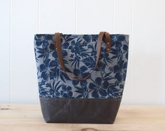 Large Tote Bag in Hibiscus with Waxed Canvas bottom