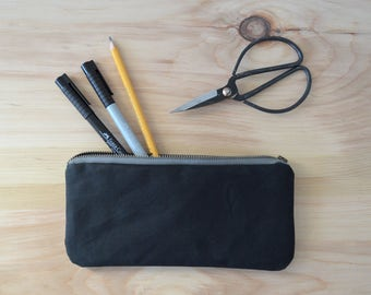 Waxed Canvas Zipper Pouch in Black - Zip Pouch, Cosmetic Clutch, Phone Wallet, Zipper Clutch, Bridesmaid Gift