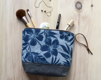Cosmetic Bag in Hibiscus with Waxed Canvas - Zipper Clutch, Make Up Pouch, Bridesmaid Clutch, Mother's Day Gift