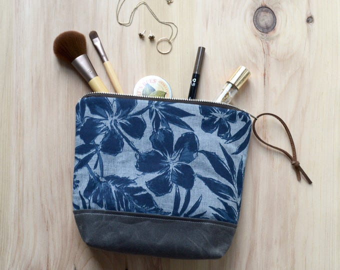Featured listing image: Cosmetic Bag in Hibiscus with Waxed Canvas