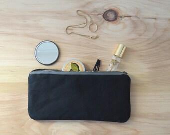 Waxed Canvas Zipper Pouch in Black