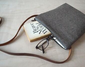 Cross Body Purse in Espresso Linen - Shoulder Bag, Small Day Bag