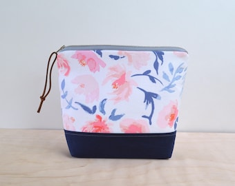 Cosmetic Bag in Summer Bloom with Waxed Canvas - Zipper Clutch, Make Up Pouch, Bridesmaid Clutch, Mother's Day Gift