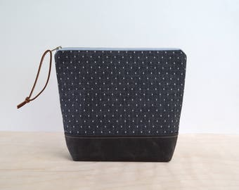 Cosmetic Bag in Black Dots with Waxed Canvas - Zipper Clutch, Makeup Pouch, Waxed Canvas Toiletry Bag, Bridesmaid Gift