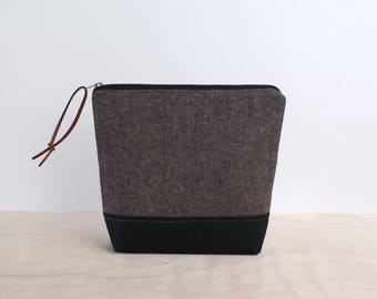 Cosmetic Bag in Espresso Linen, Waxed Canvas - Zipper Clutch, Makeup Pouch, Toiletry Bag, Bridesmaid Clutch