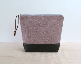 Cosmetic Bag in Rust Linen, Waxed Canvas - Zipper Clutch, Make Up Pouch, Bridesmaid Clutch