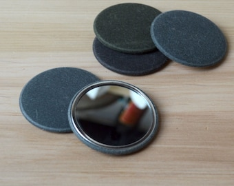 Pocket Mirror backed with Waxed Canvas
