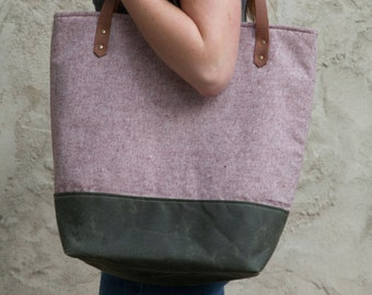 Large Tote Bag in Rust Linen with Waxed Canvas bottom