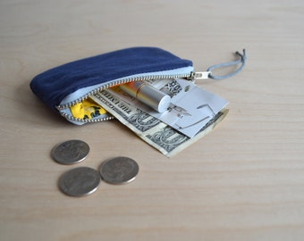 Coin Purse in Navy Waxed Canvas, Card Wallet, Mini Zipper Pouch in Blue