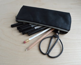 Waxed Canvas Pencil Case in Black