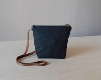 Crossbody Bag in Black Waxed Canvas