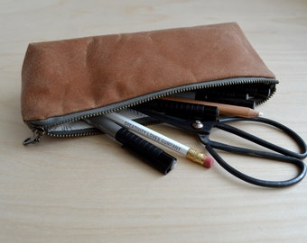 Waxed Canvas Pencil Case in Sienna