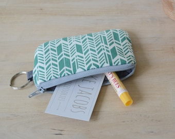 Mini Wallet with Key Ring in Sage Feather