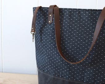 Large Tote Bag in Charcoal dot with Waxed Canvas bottom
