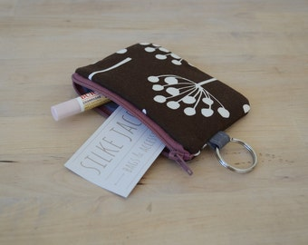 Pouch with Key Ring in Florine Chocolate
