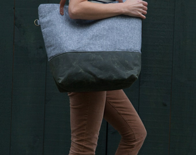 Featured listing image: Weekender Tote Bag in Charcoal Linen & Green Waxed Canvas