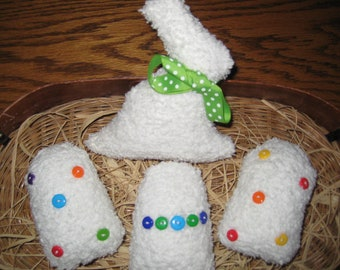 Chenille Bunny with 3 Easter Eggs - Bowl Fillers - Shabby Chic - Easter Centerpiece - Ready to Ship