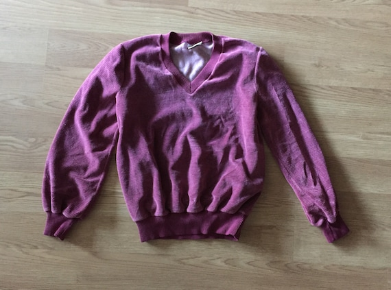 1970s Aileen Velour Raspberry Sweater Long Sleeve