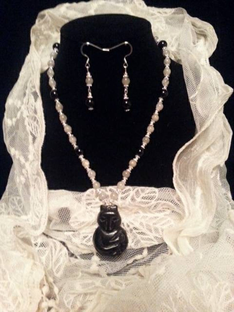 necklace with earrings and labradorite black tourmaline Fox Obsidian