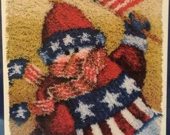 Patriotic Snowman Latch Hook Rug