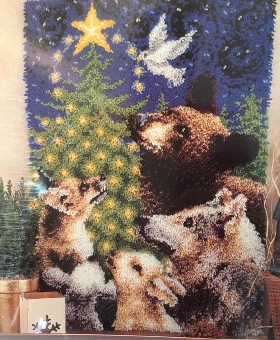 Bos Dieren Met Kerstboom Klink Haak Tapijt Etsy