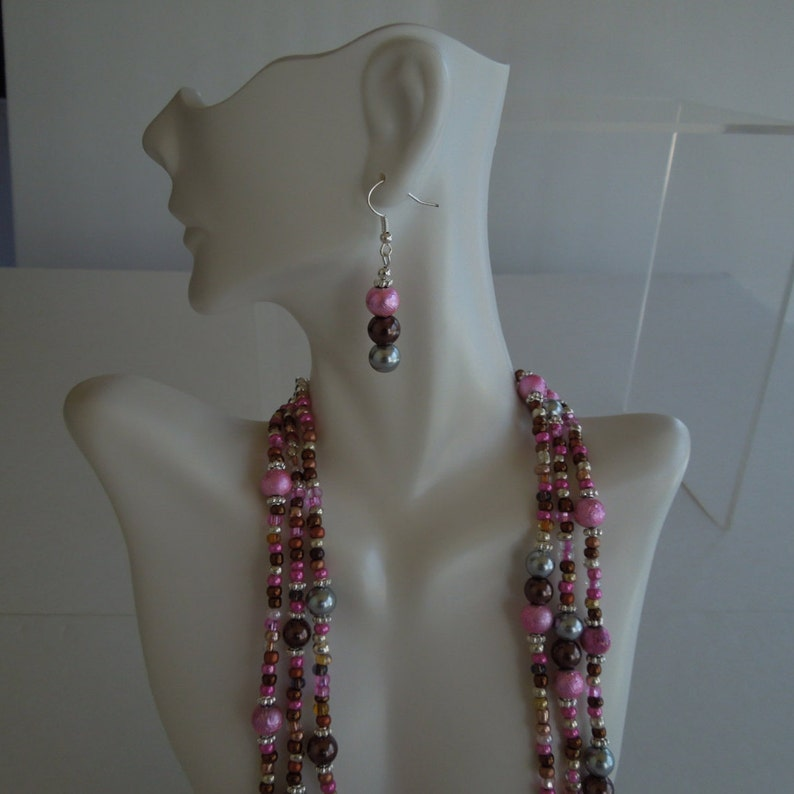 Gray and Brown Multi Strand Necklace Set Pink