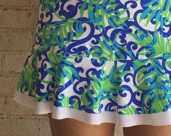f3882b09fa Tennis Skort Lucky Dot Designs Blue White Lime Green Swirl Print Ruffle Running  Skirt Tennis Skort Sports Skirt