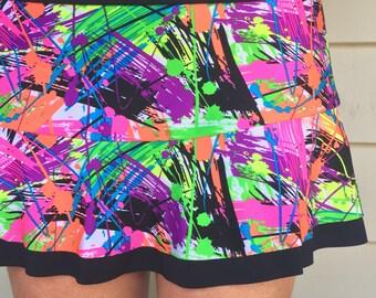 c123559788 Tennis Skirt Paint Splatter Print Black Ruffle Running Skirt Tennis Skort  Sports Skirt