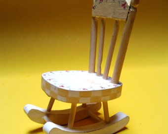 Vintage Painted Wood Tiny Rocking Chair
