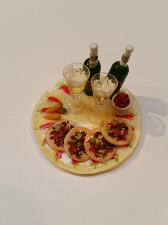 Peppers and Salsa Miniature Cinco de Mayo Platter Tacos Tostadas Heineken Beer