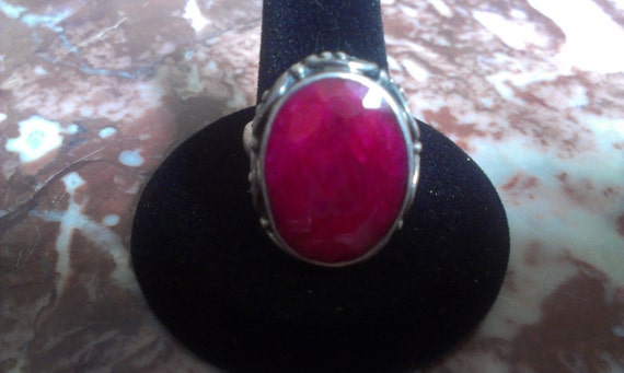 Beautiful Big Ruby Victorian Silver Sterling Vint… - image 1