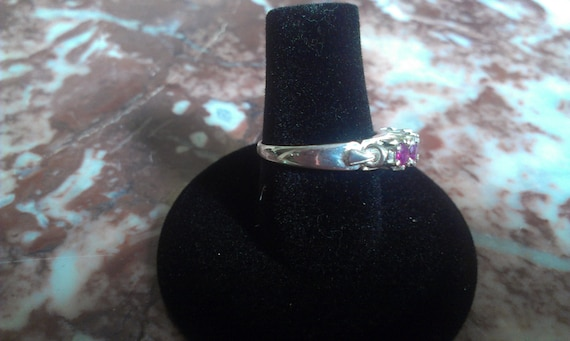 Beautiful Vintage Ruby Silver Sterling Ring - image 4