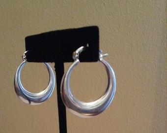 Silver Sterling Moon Crescent Hoop Earrings