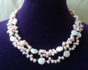 Lovely Peachy Pink Pearls and Coins Necklace
