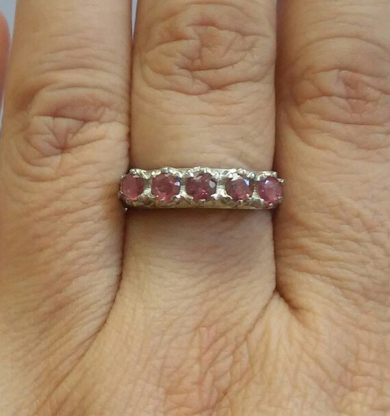 Beautiful Vintage Ruby Silver Sterling Ring - image 1