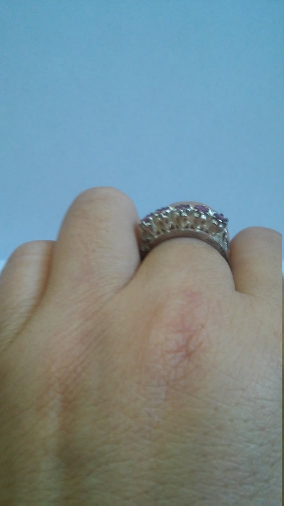 Beautiful Vintage Ruby Silver Sterling Ring - image 2