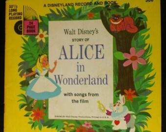 Walt Disney's Story of Alice in Wonderland ~ Vintage 1965 Disneyland Record and Book 306 BOOK ONLY