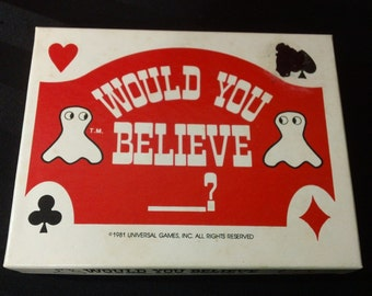 Vintage 1981 'Would You Believe_?' Card Game by Universal Games, Inc.