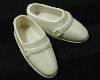 7db961610c5 Vintage Mattel Ken White Buckle Loafers ~ Retro Mens  80s Fashion Doll  Dress Shoes Accessory