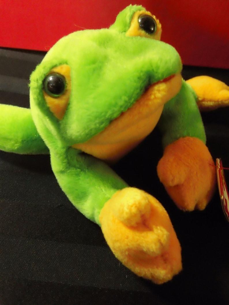Smoochy ~ Ty Beanie Babies Plush Green /& Yellow Frog ~ Vintage Collectible Beanbag Stuffed Amphibian Animal Toy