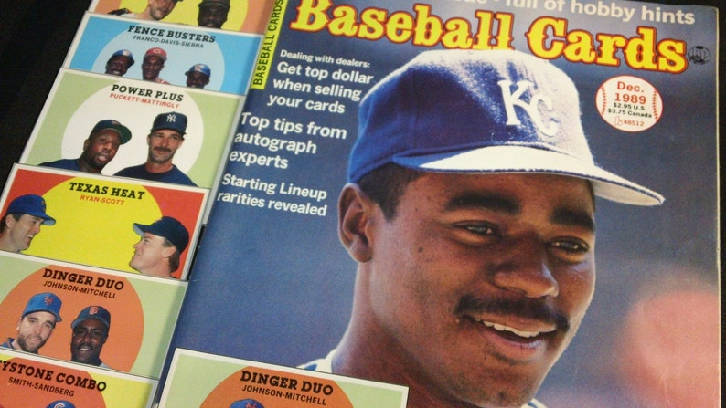 Baseball Cards Krause Publications, Dec 1989 vintage 80s Monthly Magazine /& Price Guide with trading insert cards ~ Tom Gordon cover