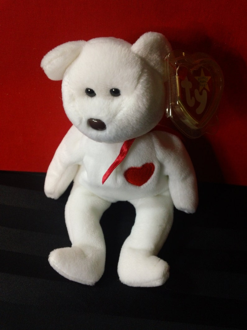 Valentino ~ Ty Beanie Babies Plush White Bear with Embroidered Red Heart ~ Vintage Collectible Beanbag Stuffed Animal Toy