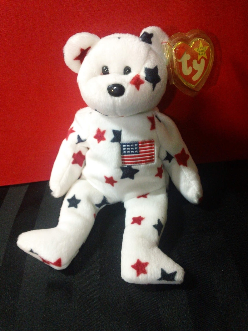 d3d37094eec Glory Ty Beanie Babies Plush White Bear with Red   Navy