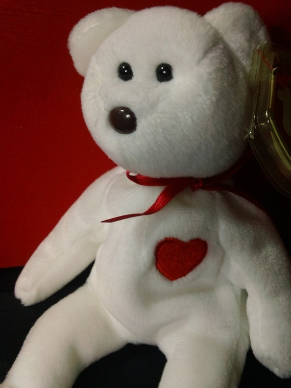 Valentino Ty Beanie Babies Plush White Bear with Embroidered  0c62851f5e78