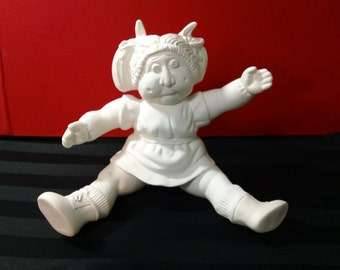Vintage 80s Unpainted Ceramic Bisque Cabbage Patch or Garbage Pail Kids style seated Girl doll figurine/statue