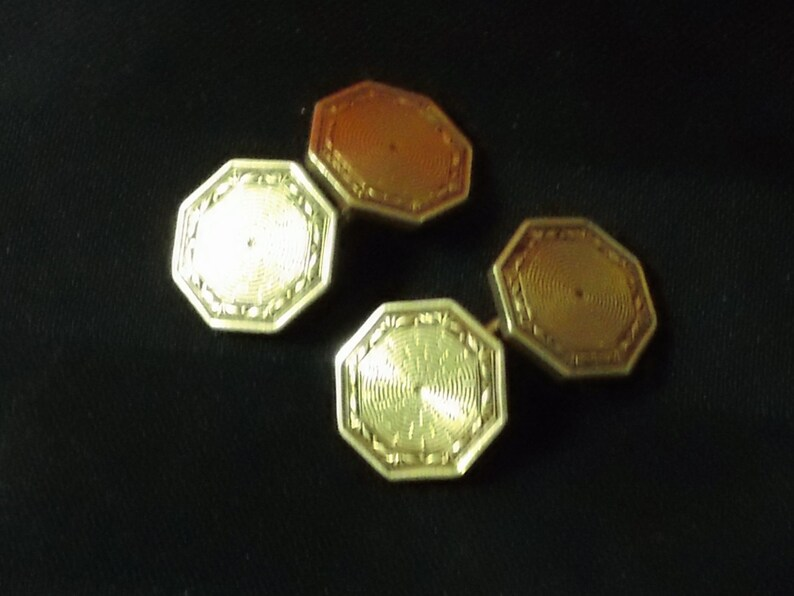 Krementz Gold Plated Octagonal Art Deco Double-Sided Cufflinks ~ Vintage Men/'s Jewelry Accessory