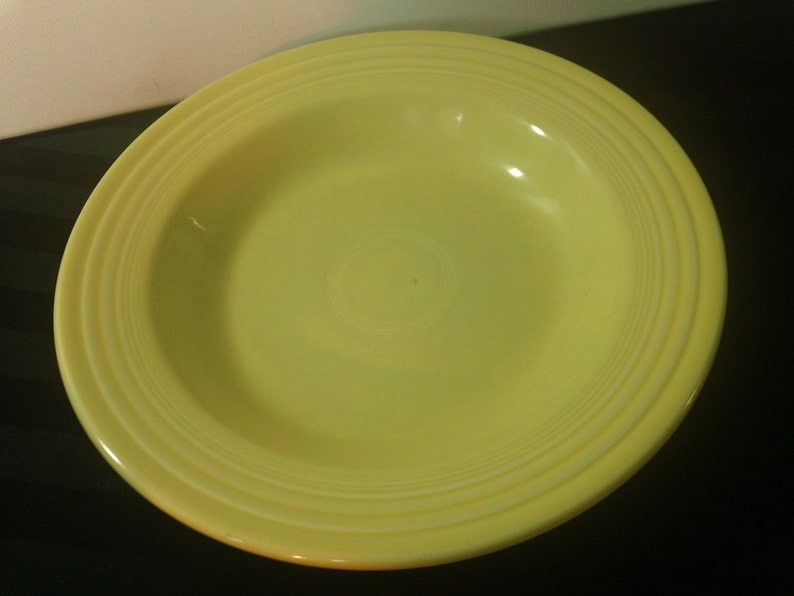Vintage 90s Homer Laughlin Fiesta Yellow Solid Color Stoneware China 9 Large Rim Soup Bowl